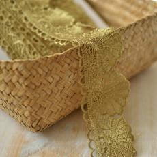 Guipure dentelle coquillage mordorée or au mètre pas cher