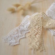 Dentelle picots blanche ou écru pour robe de mariée, au mètre pour décorer au look bohème