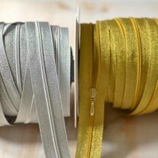 fermeture à glissière au mètre or ou argent