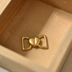 Agrafe maillot de bain coeur doré 10 mm