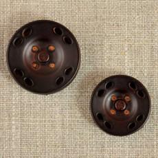 Grand bouton-pression rond imitation cuir