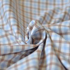 Tissu à carreaux marron et bleu clair en coton Bio