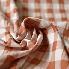 tissu seersucker carreaux gaufré rouille 2 cm couture enfant