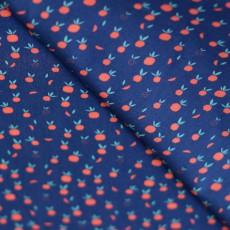Tissu popeline pomme bleu marine 100 % coton