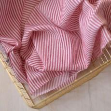 Tissu à rayures rouge et blanc crépon de coton