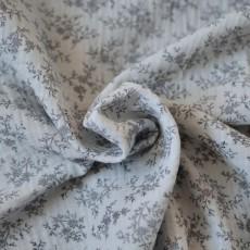 Tissu double-gaze fleurs gris en coton Bio GOTS au mètre