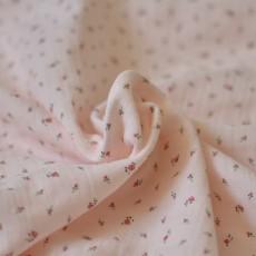 Tissu double-gaze coton Bio rose à fleurs