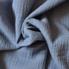 Tissu double-gaze coton Bio unie bleu orage