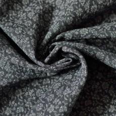 Tissu double-gaze coton Bio à fleurs blanches sur fond gris