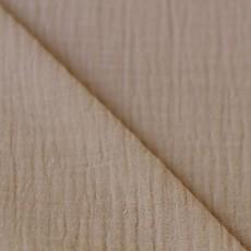 Tissu double gaze coton taupe