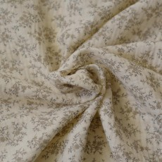 Tissu double-gaze coton bio fleurs écru