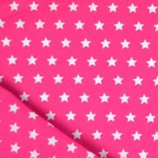 Tissu coton étoile rose et blanc