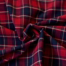Tissu flanelle carreaux bleu marine et rouge coton Bio