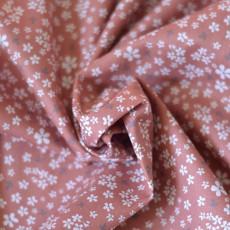 Tissu fleurs coton bio terracotta GOTS