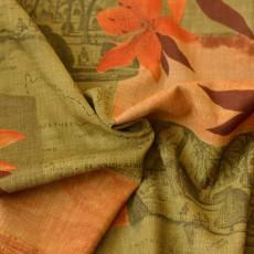 Tissu fleur, palmer et carte