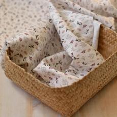 Tissu imprimé oiseaux fleurs rose coton Bio