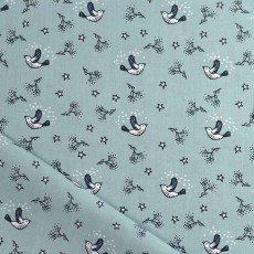 Tissu coton oiseau bleu vert