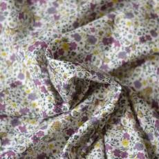 Tissu fleurs violette fin cotonnade au mètre