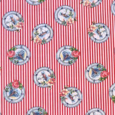 Tissu rayures rouge phare et voiliers