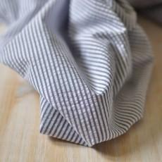 Tissu seersucker bleu marine à rayure en coton Bio