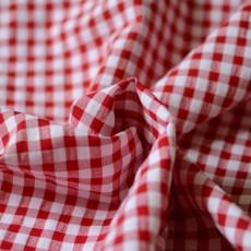 Tissu vichy rouge gaufré à carreaux recyclé écologique