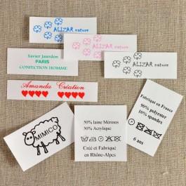Étiquettes vêtements imprimées sur taffetas