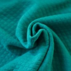 Tissu sweat jersey matelassé bleu canard