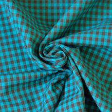 Tissu à carreaux turquoise et marron