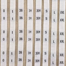 Size woven labels (or numbered) by the meter