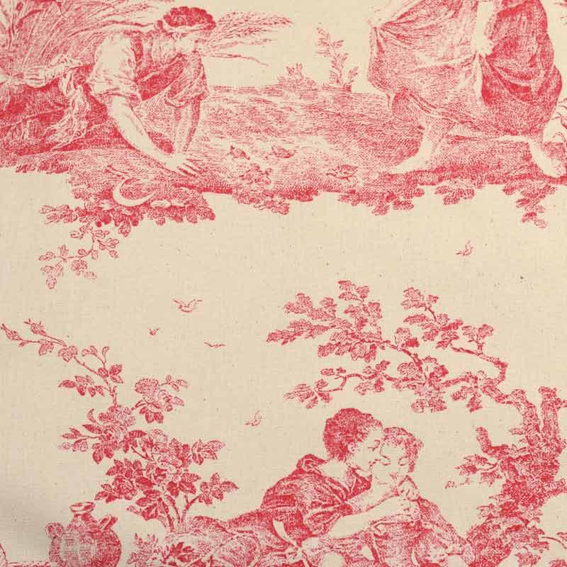 Toile de jouy tissu ameublement en promotion pas chere a - Housse de couette toile de jouy rouge ...