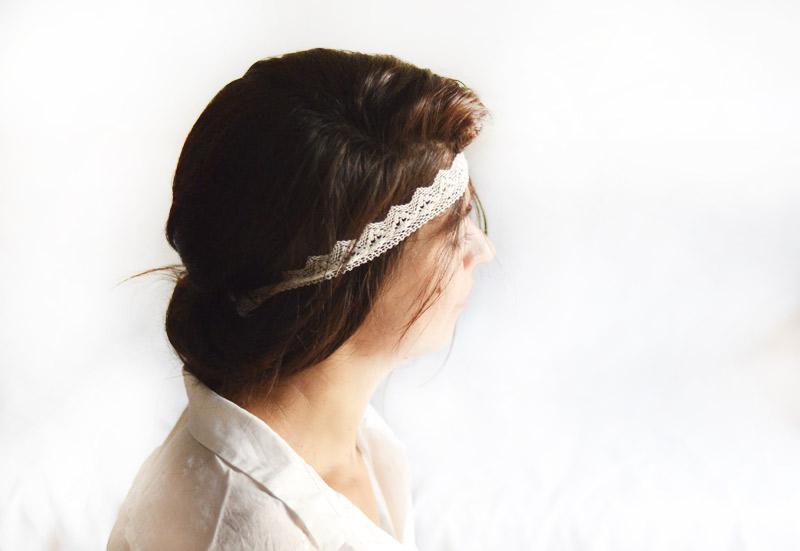 headband à dentelle écrue