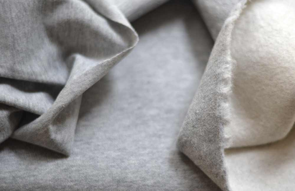 sweatshirt fabric and flecked gray organic jersey