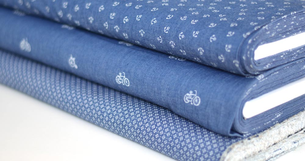 Chambray fabric with geometric print