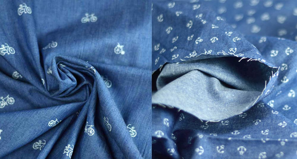 Geometric, anchors and bike chambray fabric by the meter