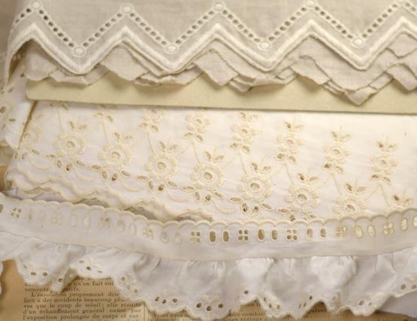 white and ecru Broderie anglaise
