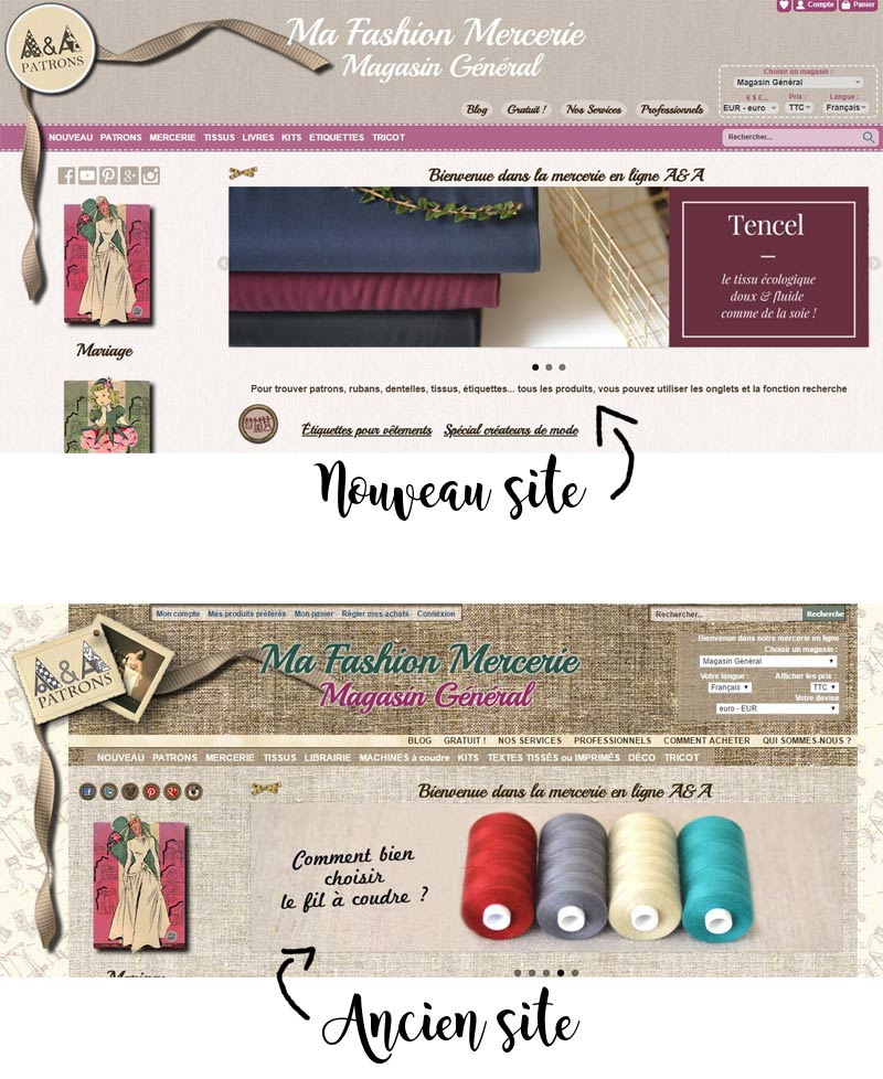 Changement design site A&A patrons