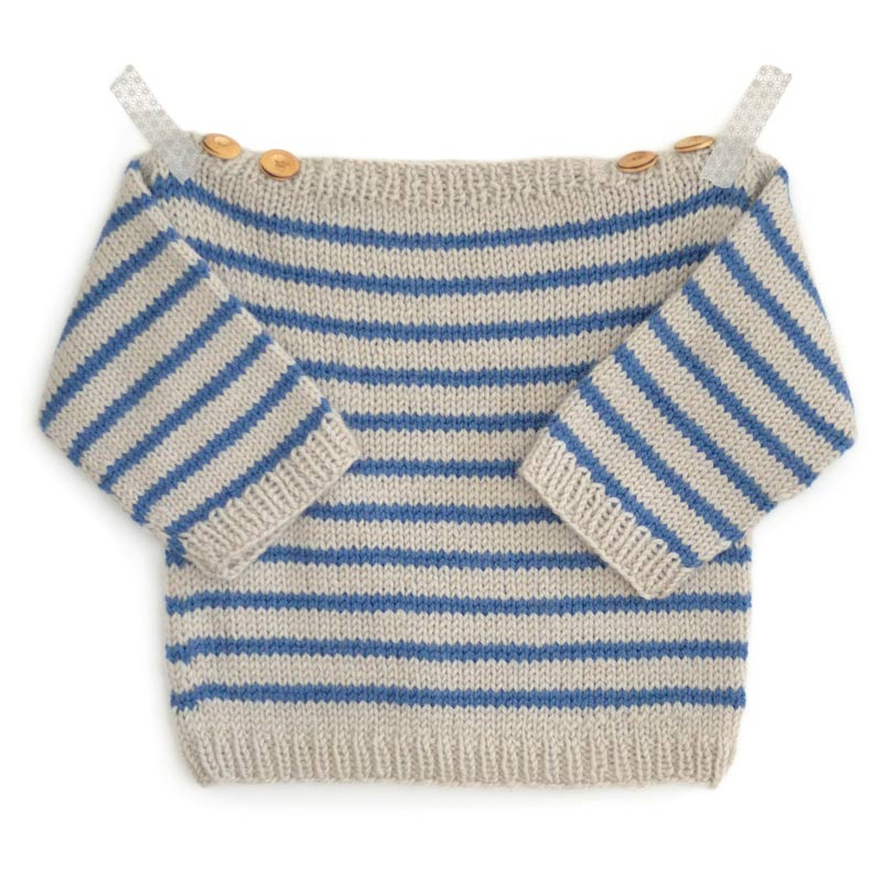 Knitting pattern for baby breton striped sailor sweater Augustin