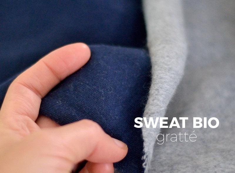 Sweat doux gratté coton bio marine