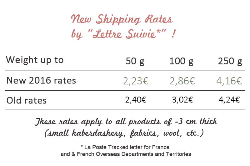 New 2016 shipping rates