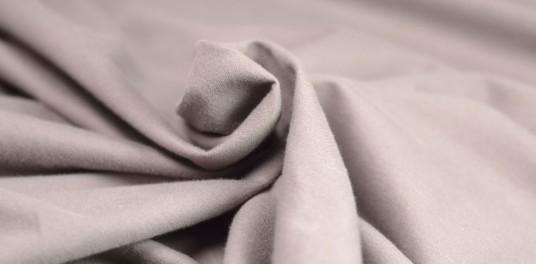 Organic taupe sweatshirt fabric, ecru and blue