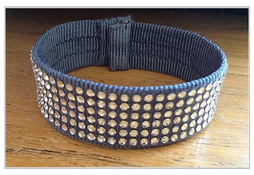 Swaroski crystals on grosgrain bracelet (Annabel's creation)