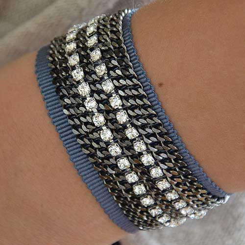 Swaroski crystals on grosgrain bracelet (an other Annabel's creation)