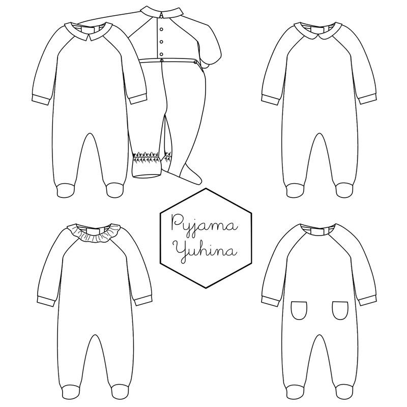 Baby pyjamas pattern Yuhina 1M-3A