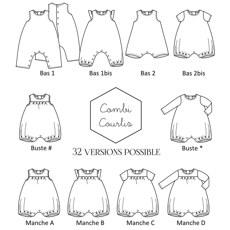 Pattern Baby suit Courlis 1M-3A