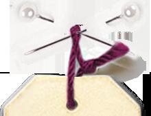 haut de l'étiquette droite avec épingle à nourrice