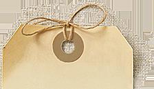haut de l'étiquette gauche avec œillet et boucle de ficelle à l'ancienne